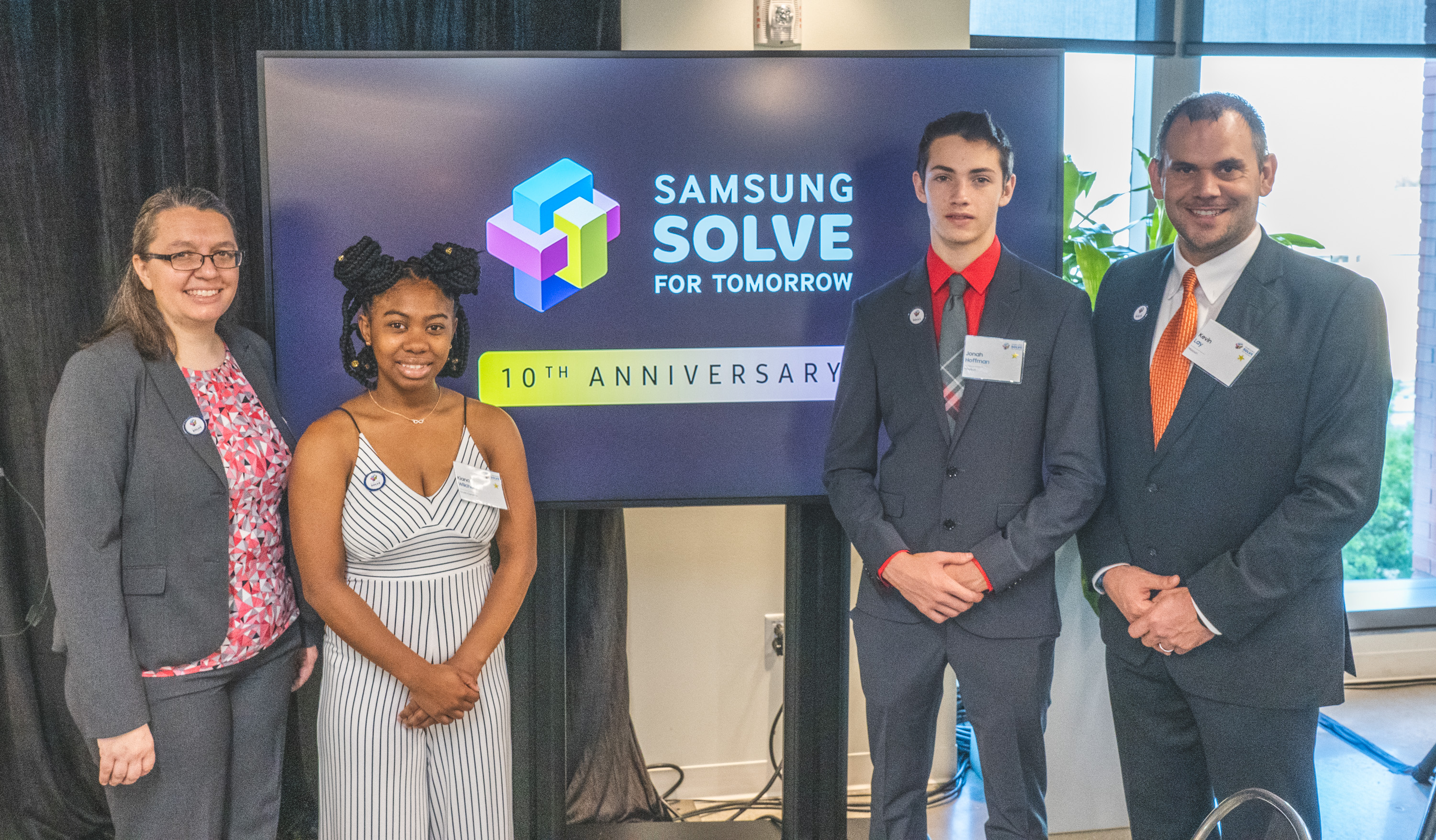 (L-R) 2018-2019 Samsung Solve for Tomorrow National Finalist teacher, Kirstin Bullington and student, Kiana Wilcher of Richland Two Institute of Innovation in Columbia, South Carolina and 2018-2019 Samsung Solve for Tomorrow National Winner student, Jonah Hoffman and teacher, Kevin Lay of Owensville High School in Owensville, Missouri attend the 2019-2020 launch event on September 12, 2019 in Washington, D.C.