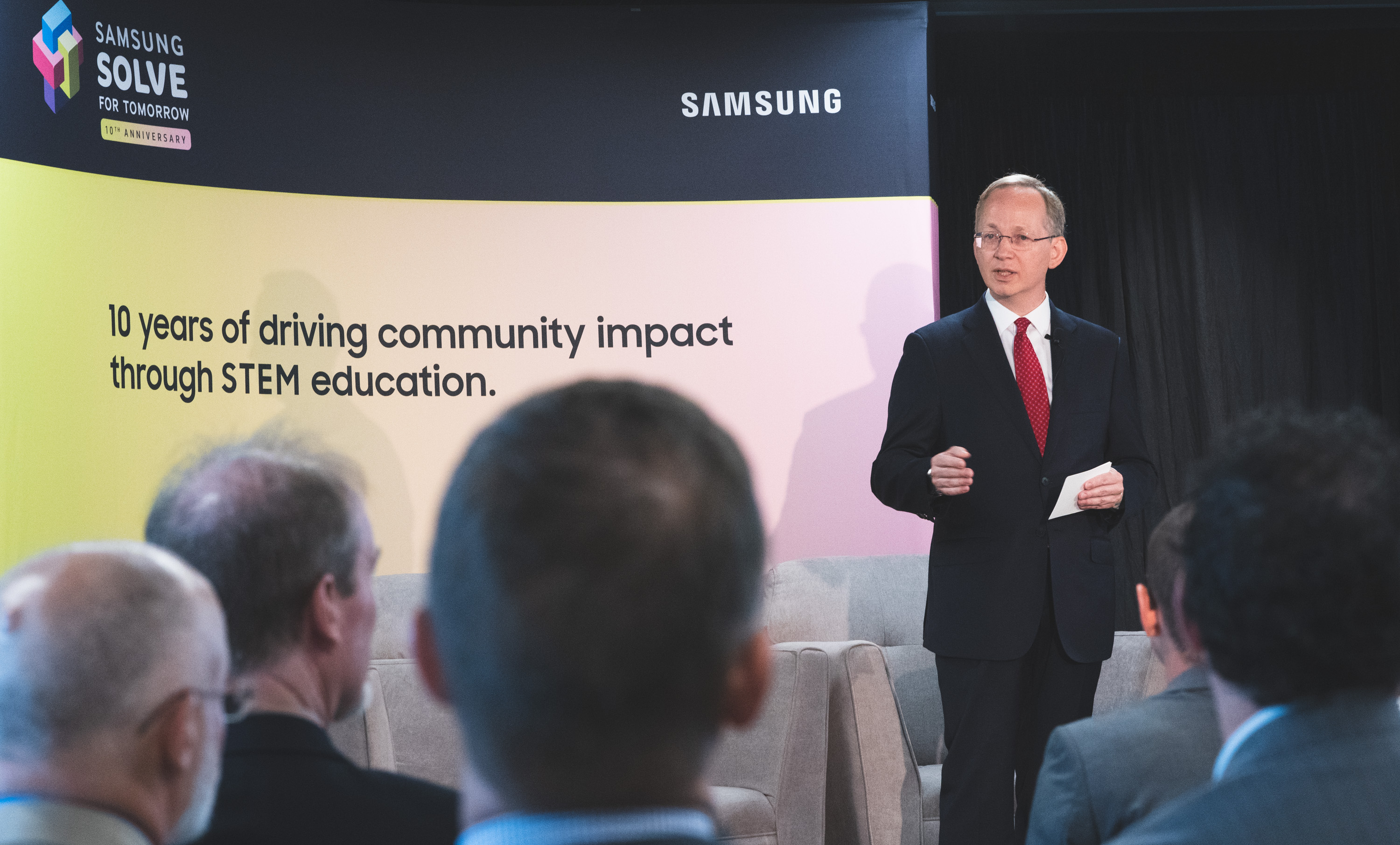 David Steel, Executive Vice President of Corporate Affairs for Samsung Electronics America, speaks on the impact Samsung Solve for Tomorrow Contest has made on local communities the past nine years at the 10th anniversary launch event on September 12, 2019 in Washington, D.C.