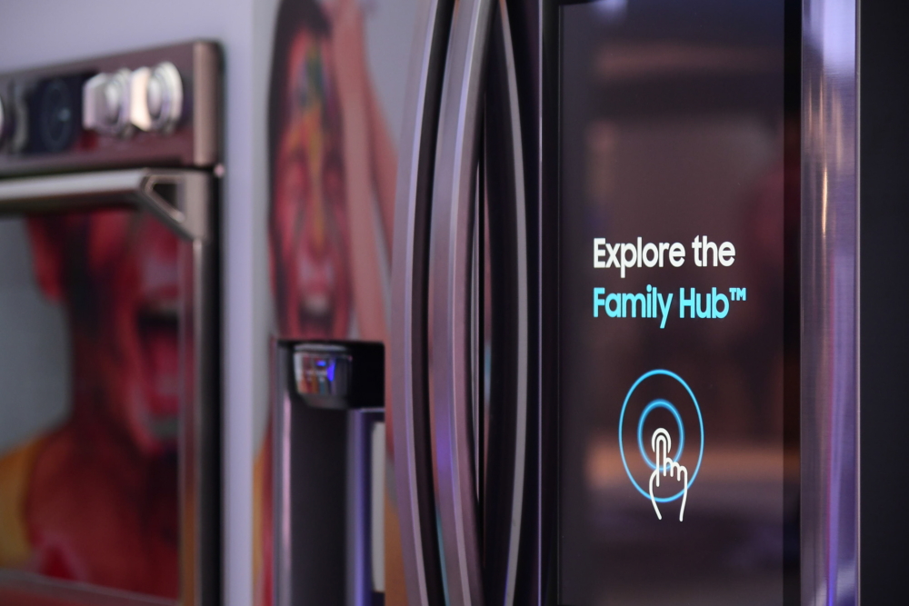 KBIS visitors are invited to explore the full range of features and capabilities of Samsung's Family Hub refrigerator through its interactive touchscreen. When a user touches the screen, they are met with a range of versatile features, including meal planning options, Smart View, music streaming and even the ability to check connected device notifications