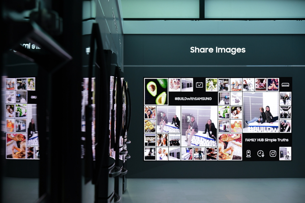 A special board showcases pictures uploaded by KBIS visitors celebrating the latest in the brand's home appliance innovations
