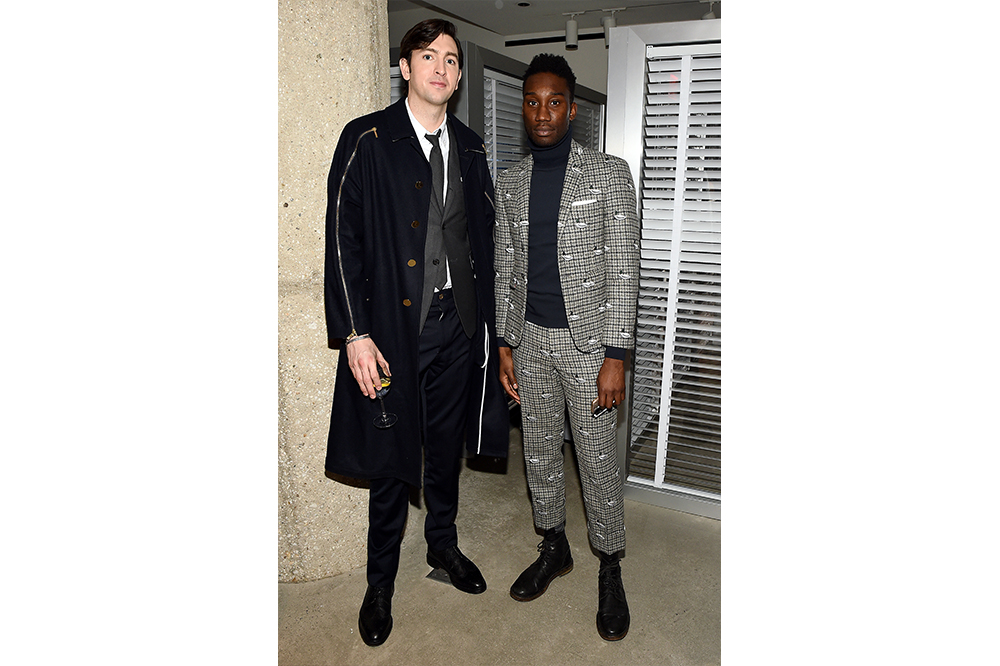 Nicholas Braun (L) attends unveiling experience of Samsung Galaxy Z Flip Thom Browne Edition at exclusive New York Fashion Week event at Sotheby's on February 12, 2020 in New York City (Photo by Ilya S. Savenok/Getty Images for Samsung Electronics)
