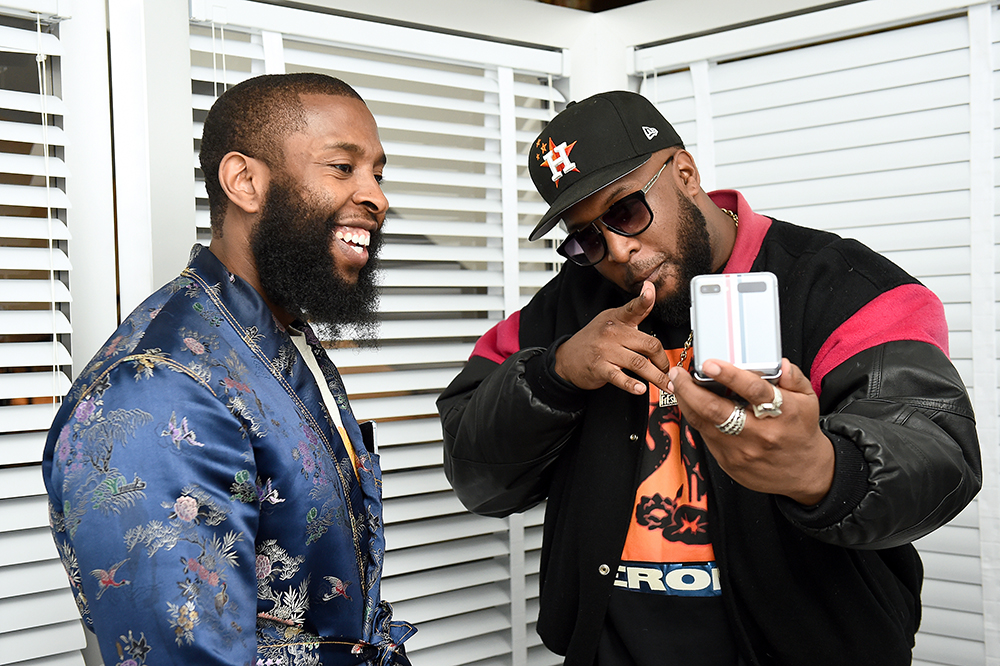 Lance Fresh (R) attends unveiling experience of Samsung Galaxy Z Flip Thom Browne Edition at exclusive New York Fashion Week event at Sotheby's on February 12, 2020 in New York City (Photo by Ilya S. Savenok/Getty Images for Samsung Electronics)
