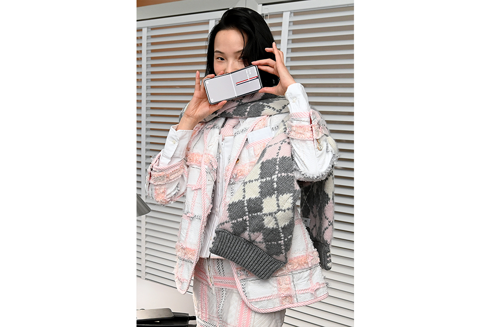 Xiao Wen Ju attends unveiling experience of Samsung Galaxy Z Flip Thom Browne Edition at exclusive New York Fashion Week event at Sotheby's on February 12, 2020 in New York City (Photo by Ilya S. Savenok/Getty Images for Samsung Electronics)
