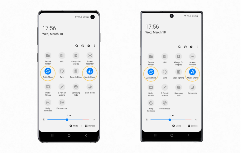 Quick Share and Music Share available on the Galaxy S10 (left), Quick Share and Music Share available on the Galaxy Note10