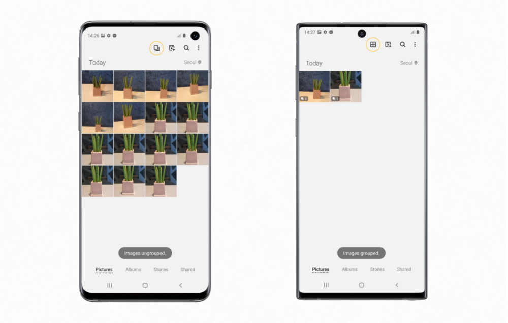 Tap the highlighted icon to group/ungroup gallery images on the Galaxy S10 (left), Clean View after grouping images on the Galaxy Note10