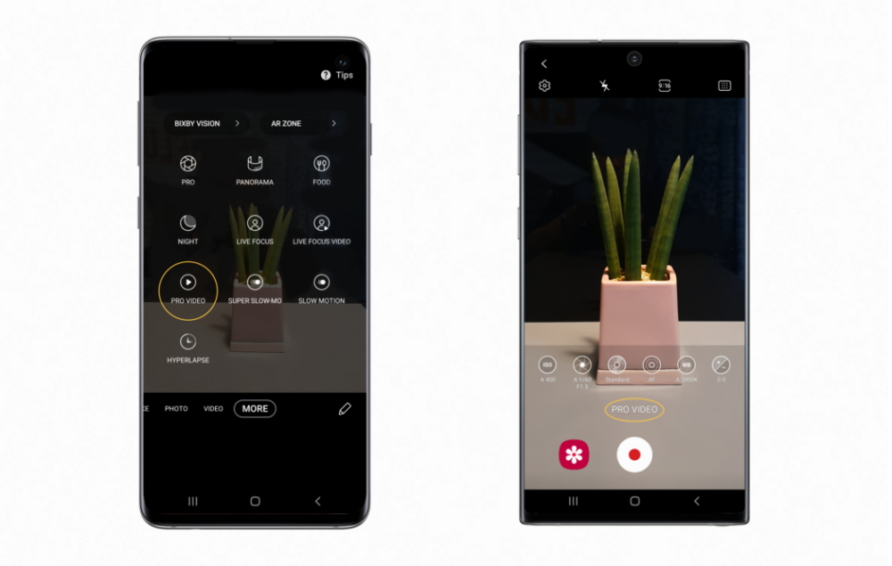 Pro Video now available on the Galaxy S10 (left), Shooting video in Pro Video mode on the Galaxy Note10