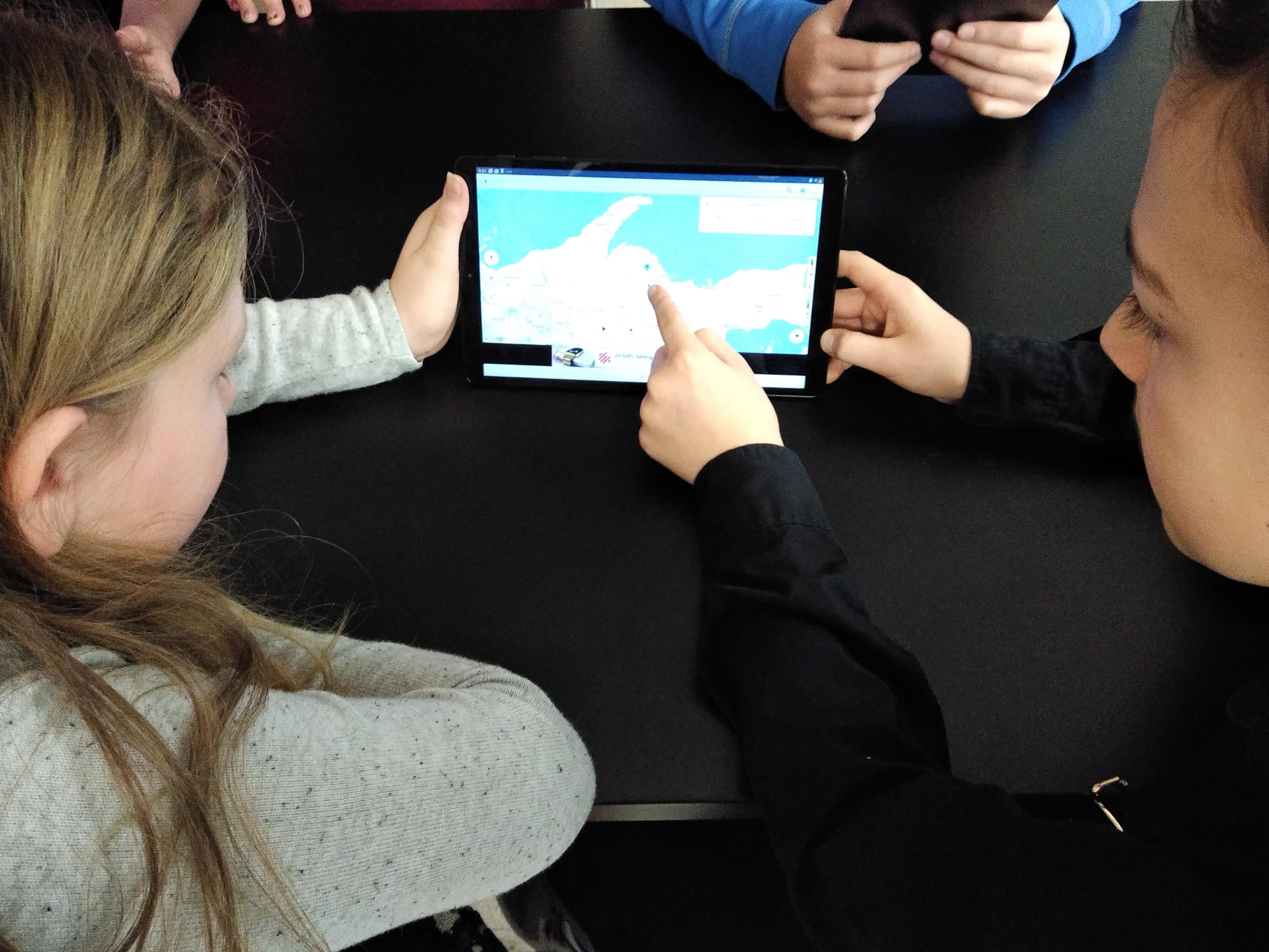 Students using Samsung Galaxy Tablets