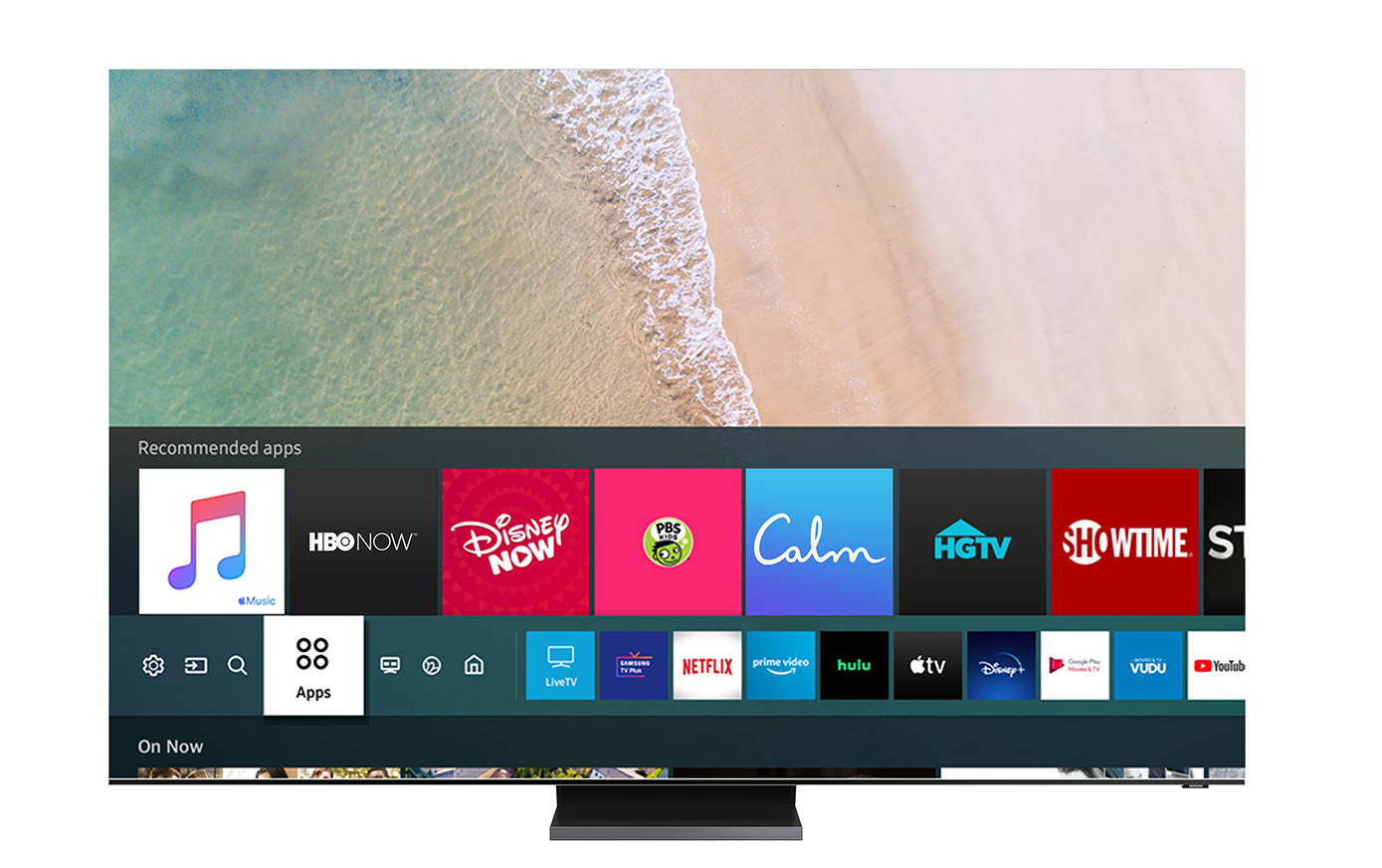 Samsung Smart TV User Interface featuring Apply Music icon.