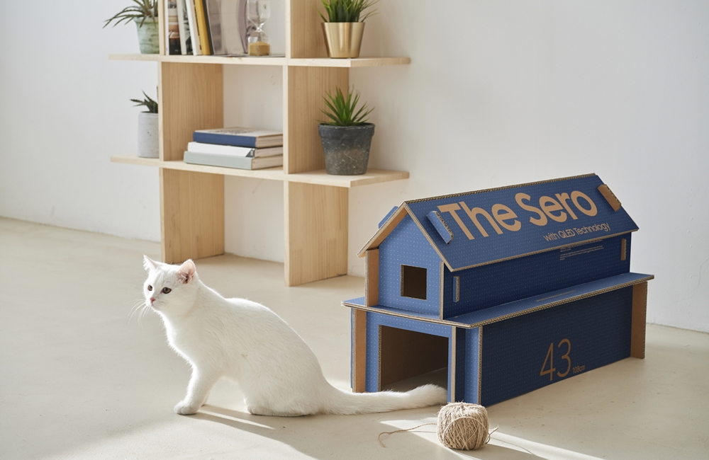 Samsung's lifestyle TV packaging can be repurposed to serve as a cat house