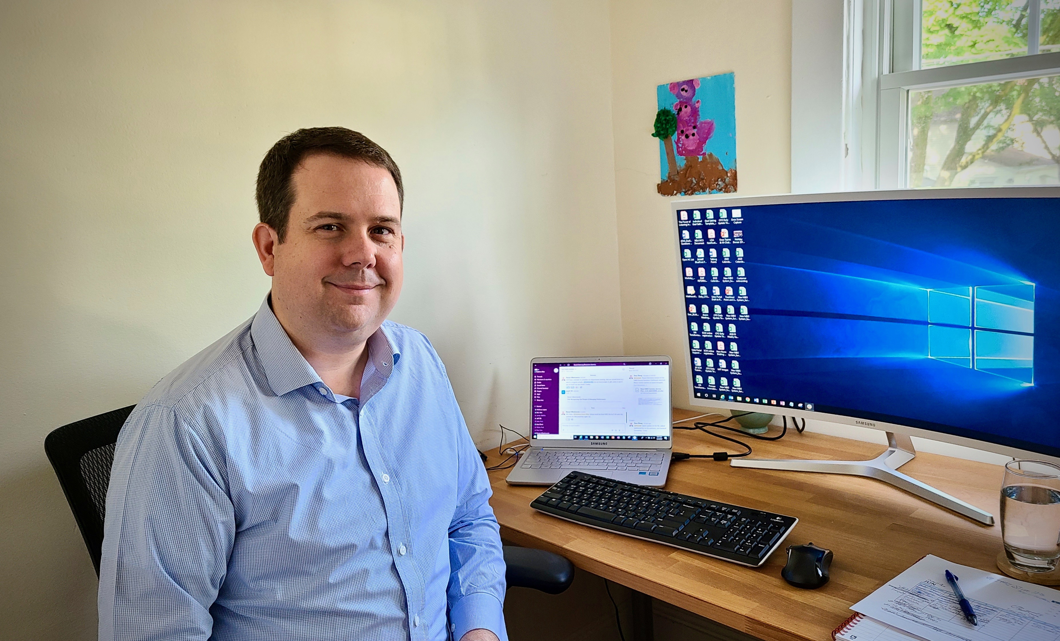 Matthew Alley, senior manager of Process Innovation, while he is working from home.