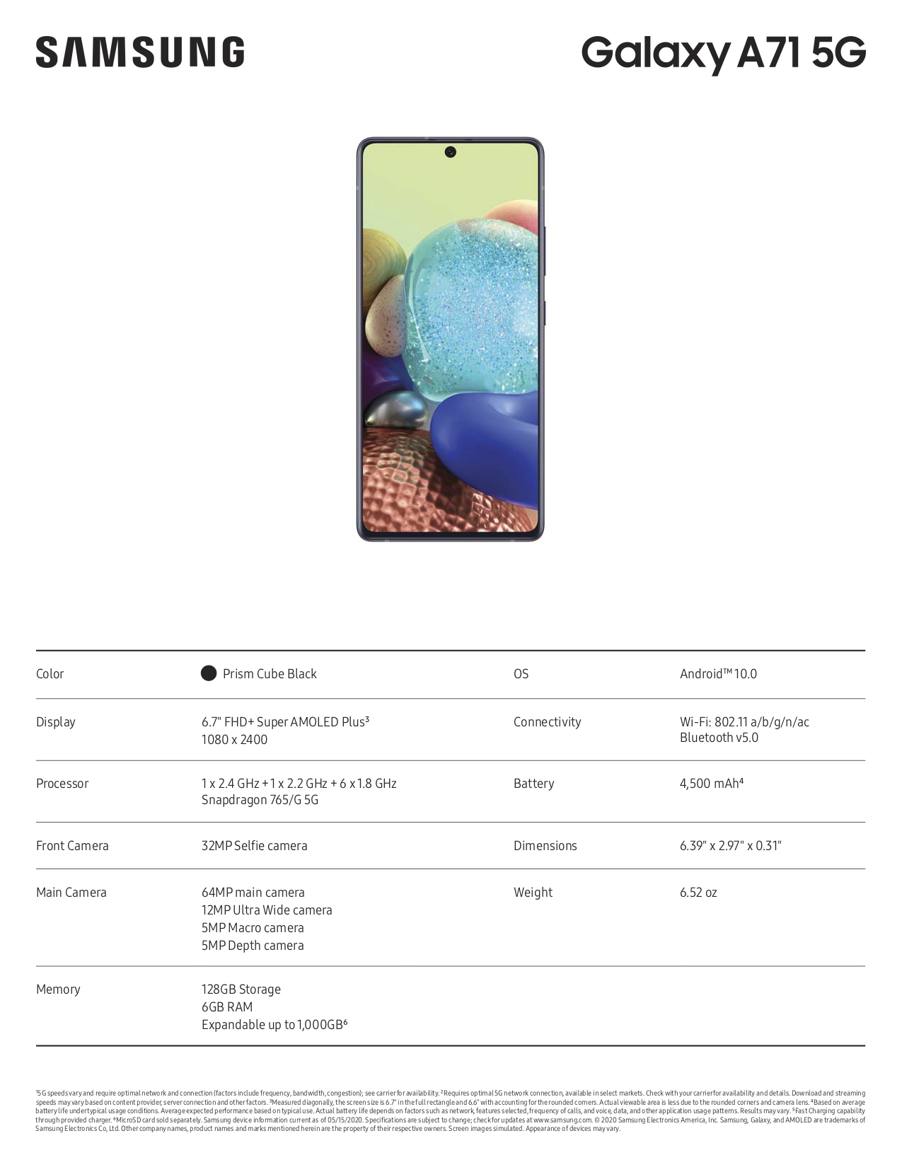 Galaxy A71 5G Specification