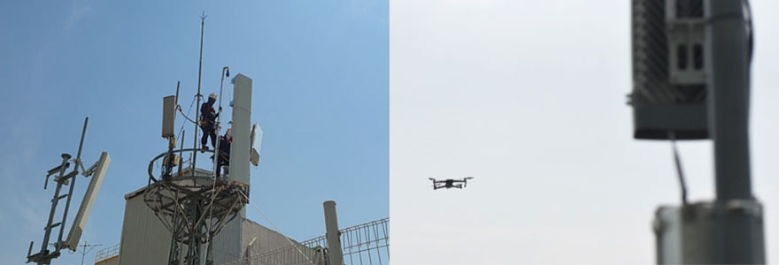 Conventional Method (left) and Samsung's New Drone-Based AI Solution (right).
