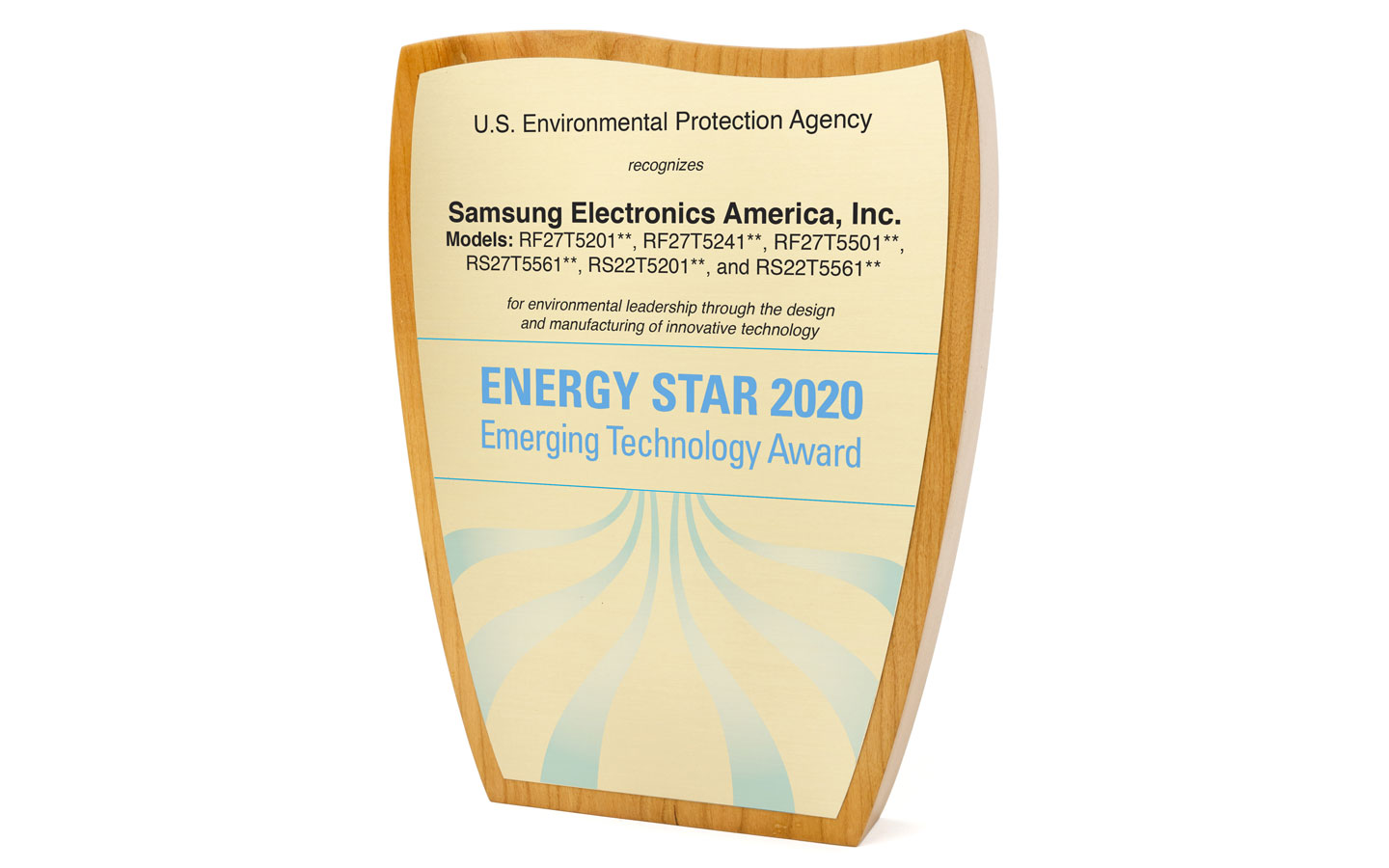 EPA presents the ENERGY STAR Emerging Technology Award for Advanced Adaptive Compressors to Samsung Electronics America, Inc.