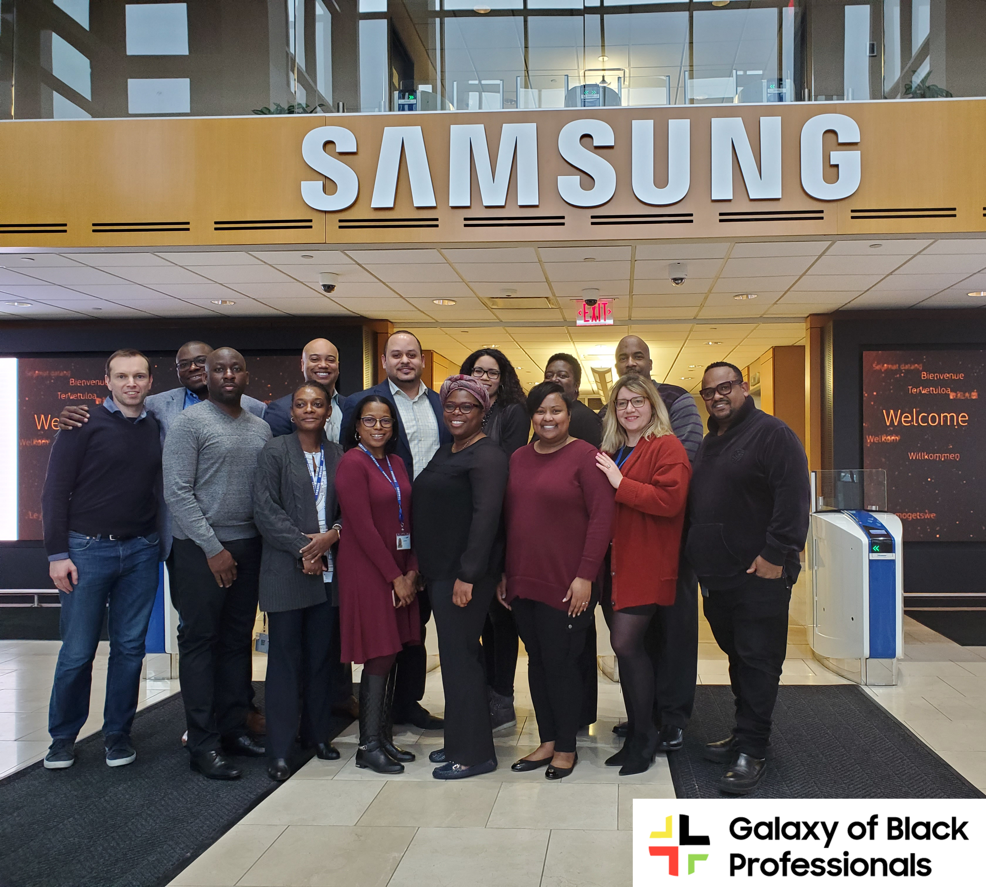 Members of the Galaxy of Black Professionals take inaugural photo. February 2020.