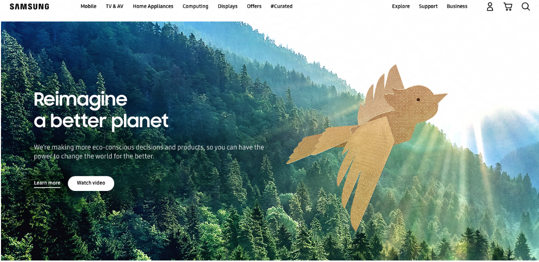 World Environment Day 2021: #ReimagineABetterPlanet with Samsung - samsung.com homepage takeover