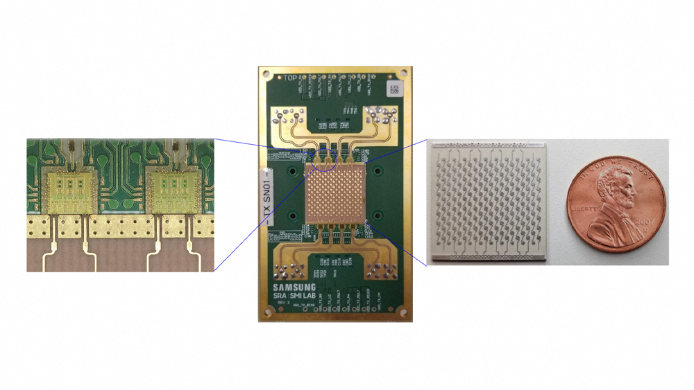 16-channel 140 GHz phased-array module (middle), dual-channel 140 GHz RFICs (left), 128-element antenna array (right)