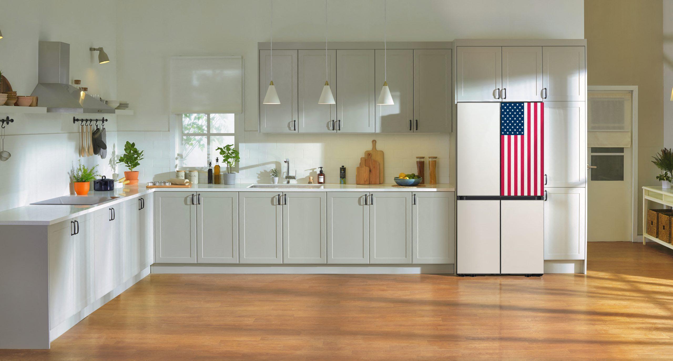 Bespoke 4-Door Flex™ refrigerator with stars and stripes design