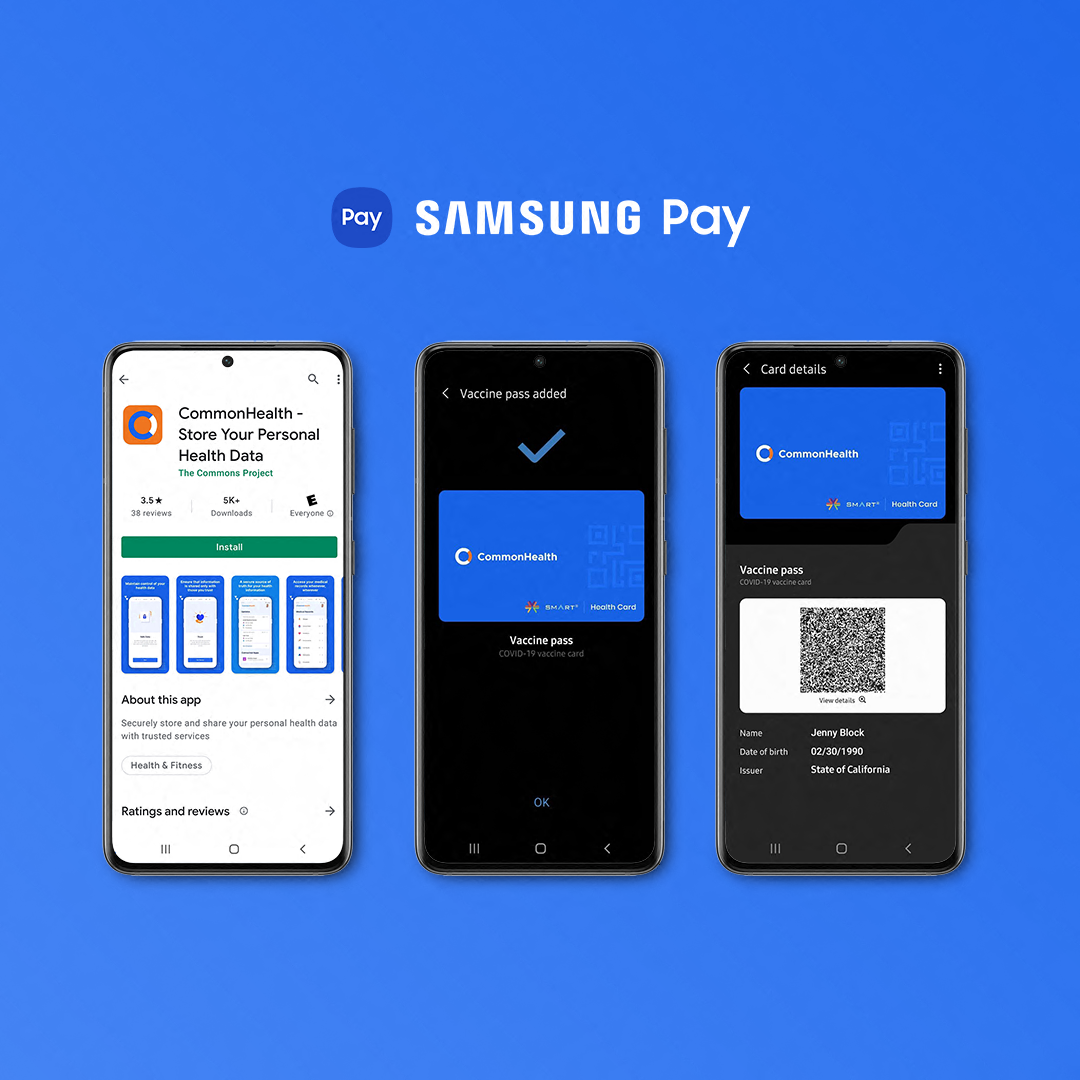 SMART Health Cards displaying Covid-19 vaccination status within Samsung Pay